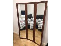 3 Panel Full Length Wooden Framed Mirror