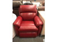 Red real leather rise and recline armchair