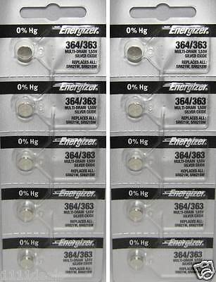 Button Cell Type 364 Zero Mercury Battery Energizer 10 Pcs -