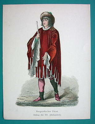 COSTUME Burgundy Prince 15th century - 1880s Color Antique Print