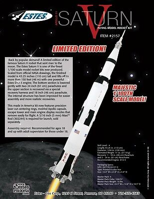 1/100 ESTES Saturn V Flying Model Rocket Kit #2157