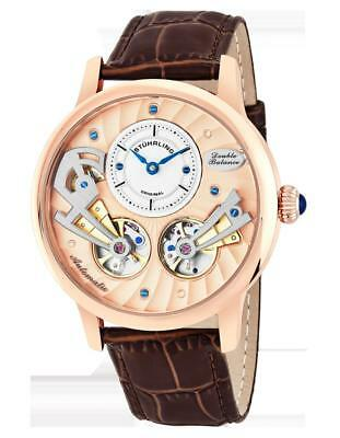 - Stuhrling 740 03 Sagittarian Automatic Open Heart Brown Leather Strap Mens Watch