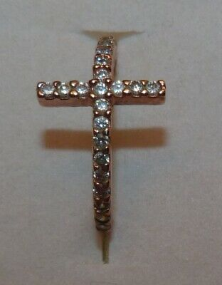 NEW DESIGNER ROSE GOLD CROSS RING W/ ZIRCONS IN CROSS NON TARNISH SS SIZE 6 (Designer Rose Gold Cross)