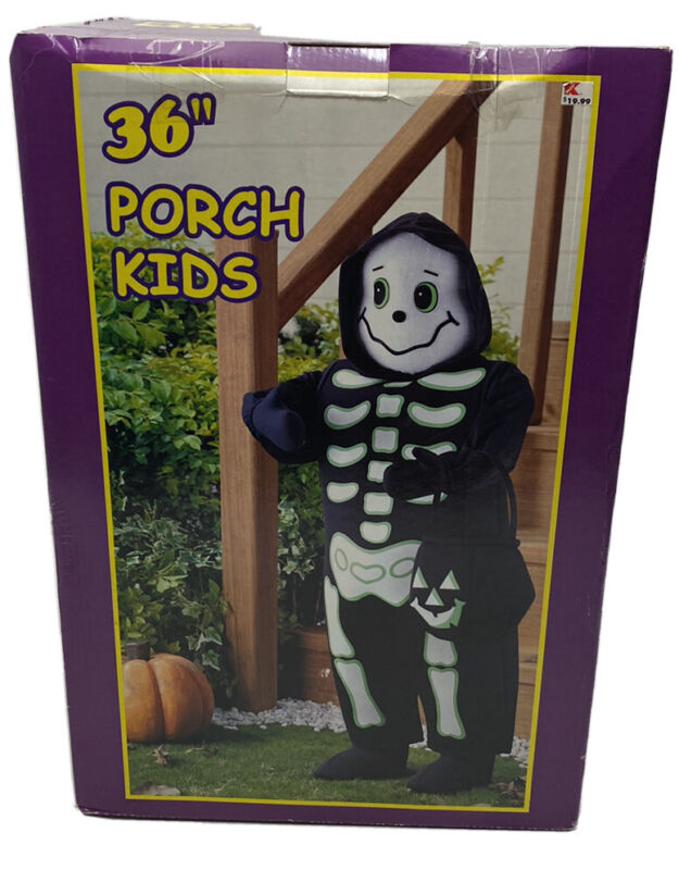 "Vintage Porch Kids Halloween Standing Skeleton K-mart 36"" Trick-or-Treat Greeter"