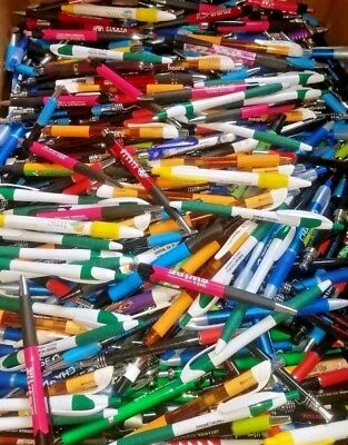 Misprint Pen Lot Nice Writing Clip On Soft Grip Retractable Bulk Lot Of 100