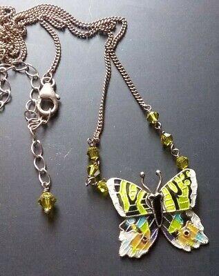 Vintage Sterling Silver 925 Blue Green Enameled Butterfly Pendant Necklace  Sterling Silver Enamel Butterfly Pendant