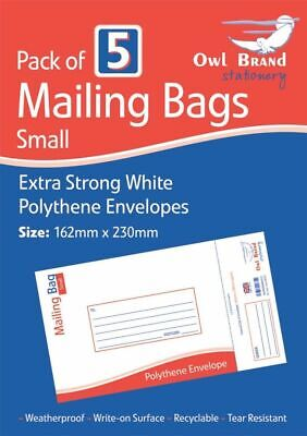 Pack of 5 White Polythene Envelopes Small Extra Strong Postal Mailing Bags