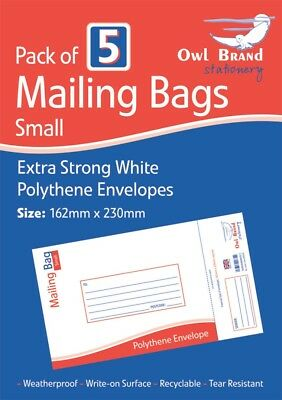 Pack of 5 White Polythene Envelopes Small Extra Strong Postal Mailing Bags New