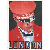 "VINTAGE ORIGINAL 1938 CLASSIC ART DECO ""HOTEL REMBRANDT"" DOORMAN LABEL LONDON"