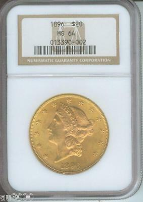 1896 1896 P $20 LIBERTY DOUBLE EAGLE NGC MS64 MS 64  NEAR GEM