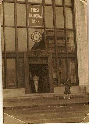 Old Vintage Antique Photograph People In Front Of First National Bank