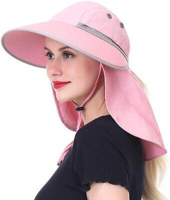 Womens Outdoor Fishing Sun Hat w Neck Flap Ponytail Hole Hik