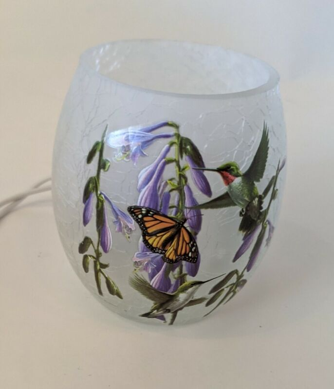 """Hummingbird and Monarch Butterfly Lighted Glass 3"""" Vase by Stony Creek"""