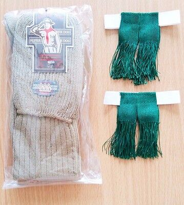 Men Boy Scout Knee Green Tassel Elastic Garter Camp Club Khaki Brown Socks Set