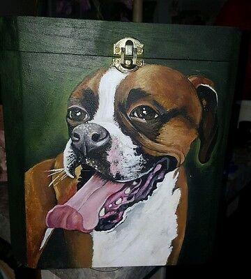 Custom hand painted dog portrait memorial Wood box Boxer urn any Pet URN DOG urn