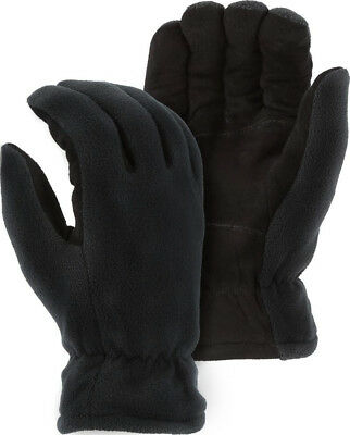 Warm Winter Gloves Thick Insulation Black Deerskin Suede Leather Palm Mens Large