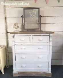 Beautiful shabby chic French country style chest of drawers with mirror