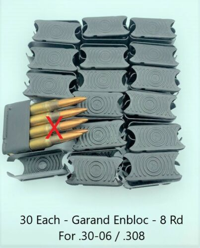 30 Each ENBLOC Clip for M1 Garand Rifle Caliber 30 NEW 8 Round Clip 30-06 .308