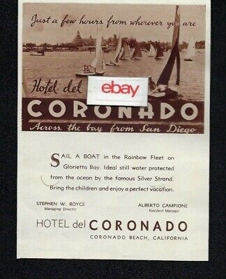 HOTEL DEL CORONADO ACROSS THE BAY FROM SAN DIEGO GLORIETTA BAY SAILING 1936 AD