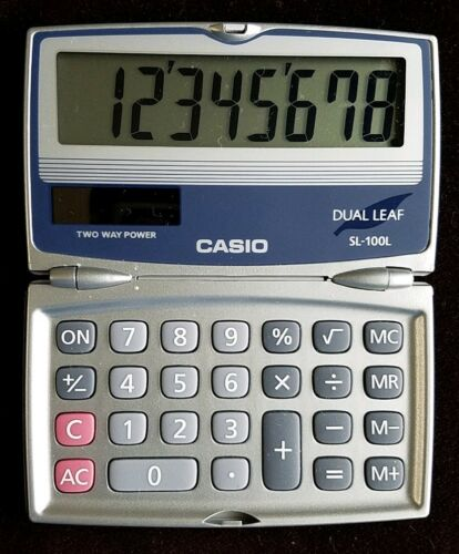Casio Dual Leaf Two Way Power Electronic Calculator SL-100L Solar Cell Battery