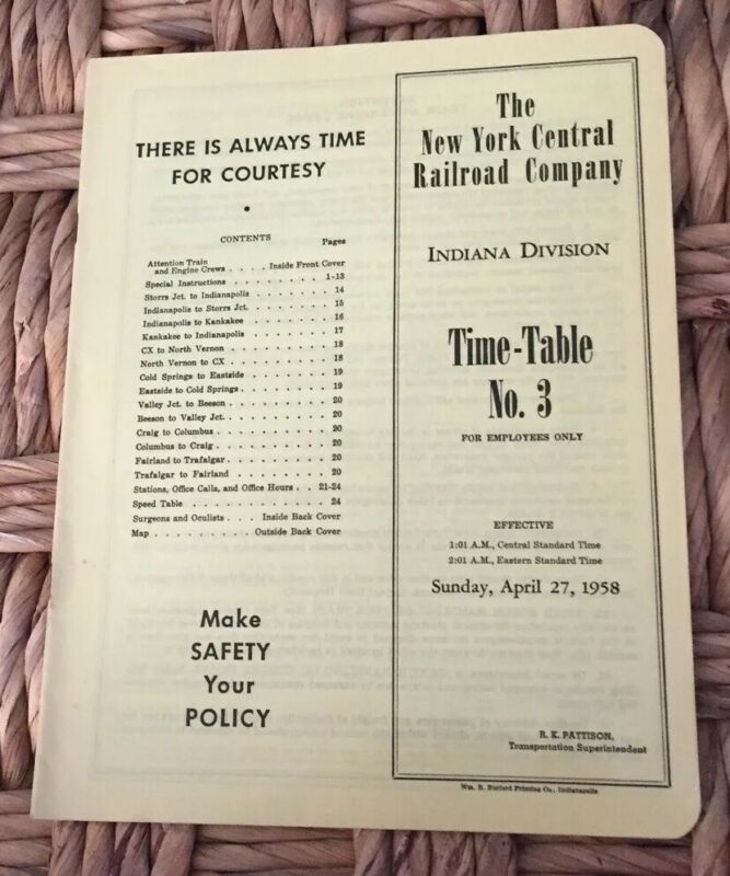 New York Central Railroad 4/27/58 Employee Timetable:Indiana Div