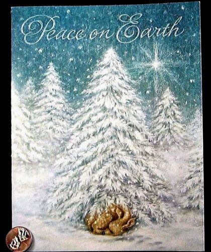 Christmas Deer Fawn Sleeping Tree Snow Peace on Earth - Greeting Card - NEW