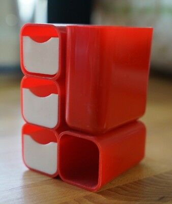 Vintage 1970s Modular Hof Red Mid Century Mcm Desk Organizer Made In Hong Kong