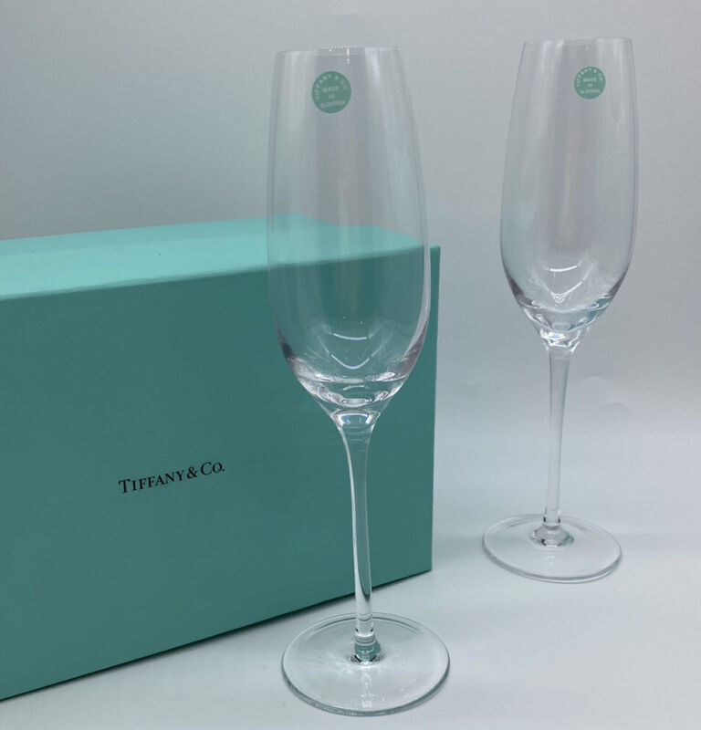"TIFFANY & CO Signed 9.5"" Set Of 2 Crystal Champagne Flute Glasses Wedding Toast"