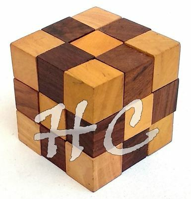 Halloween Brain Teasers (Halloween Handmade 3D Brain Teaser Wooden Snake Cube Puzzle Set For Adults)