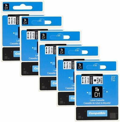 5pk For Dymo D1 Black On White S0720530 Label Tape Cassette 45013 12 12mm 160