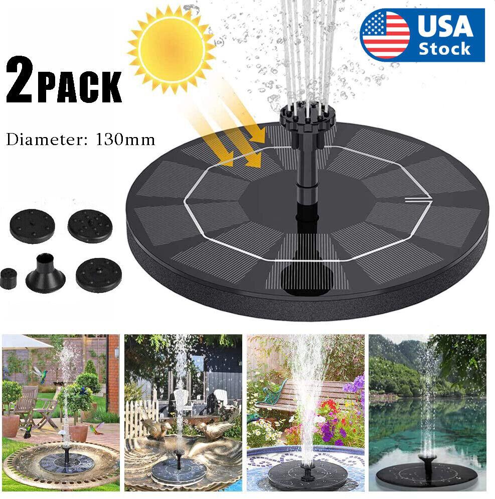 2XOutdoor Solar Powered Floating Water Fountain Pump Bird Bath Garden Pond Pool Home & Garden
