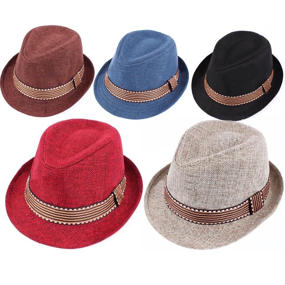 ad18b406 Details about Kids Boys Girls Unisex Fedora Hat Contrast Trim Cool Jazz Hat  Felt Trilby Cap