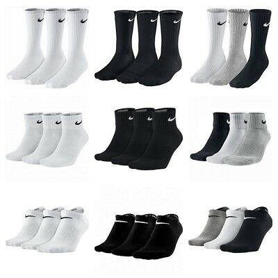 Nike 3 Pairs Socks Mens Womens Crew Ankle No show Cotton Sports Gym Running
