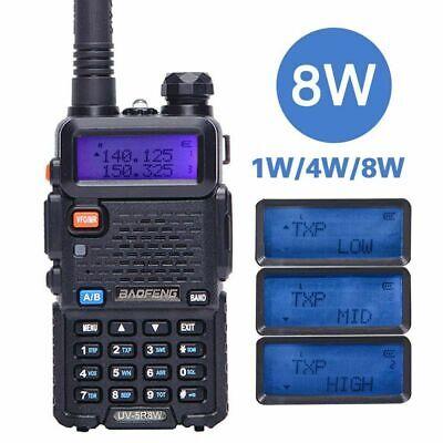 Baofeng UV-5R 8W Tri-power 8W/4W/1W Dual Band V/UHF Two Way Radio Walkie Talkie