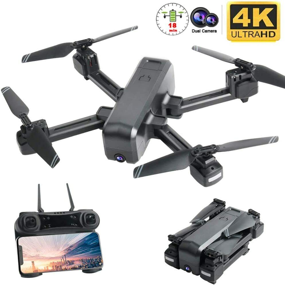 4K Camera Drone, Smart Follow Wifi, Adjustable 4K Wide Angle HD Camera OKPOW