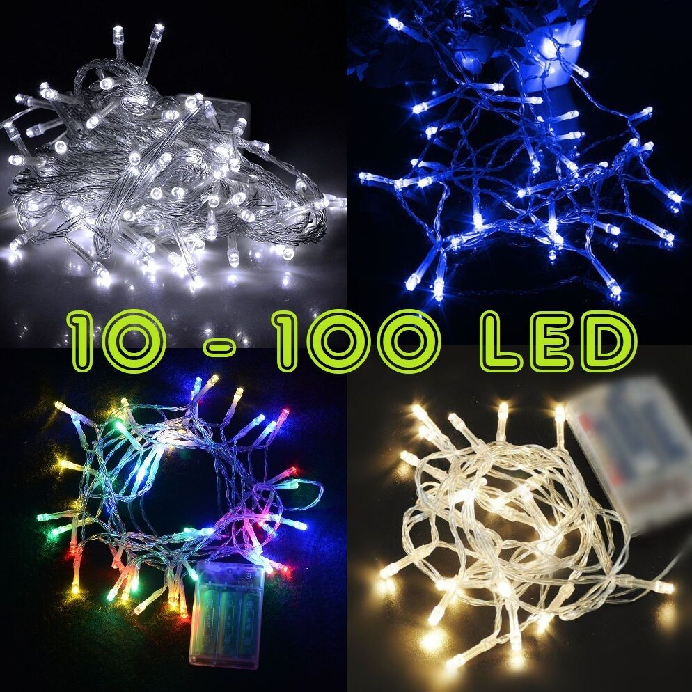 Led - Perfect Holiday 10-100 LED 1M-10M Battery Operated String Lights Fairy Wedding