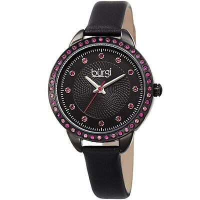 Burgi BUR161BK Swarovski Crystals Black Leather Strap Womens Watch