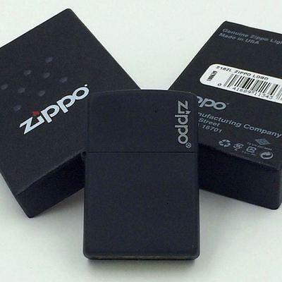 New Zippo Logo Black Matte Classic Windproof Lighter 218ZL