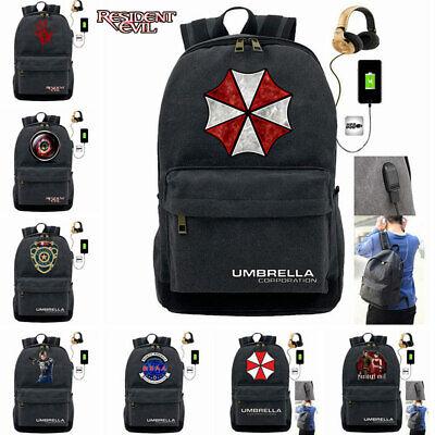 Resident Evil Rucksack USB Charging Backpack Travel Laptop Bag Freizeitrucksack