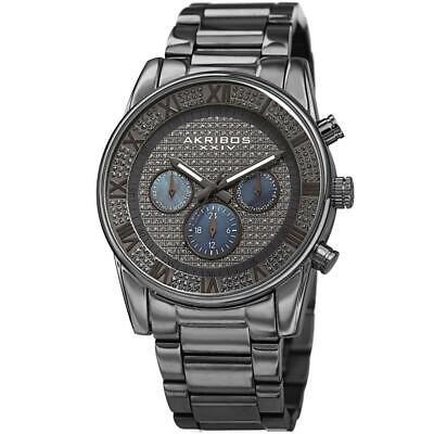 Akribos XXIV AK939GN Swiss Quartz Crystal Pave Dial 24 Hour Indicator Mens Watch