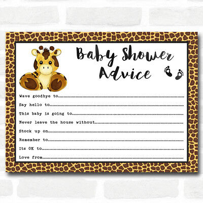 Giraffe Animal Print Baby Shower Games Advice To Parents Cards Baby Cards To Print