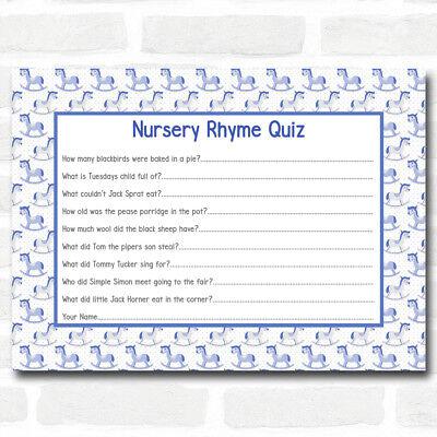 Boys Blue Rocking Horse Baby Shower Games Nursery Rhyme Quiz Cards (Baby Horse Games)