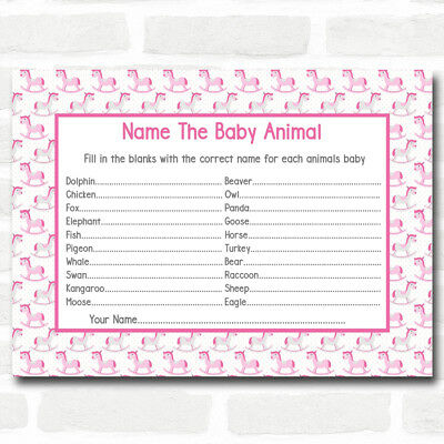 Girls Pink Rocking Horse Baby Shower Games Baby Animal Cards (Baby Horse Games)