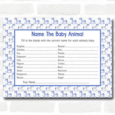 Boys Blue Rocking Horse Baby Shower Games Baby Animal Cards (Baby Horse Games)