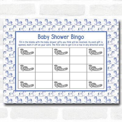 Boys Blue Rocking Horse Baby Shower Games Bingo Cards (Baby Horse Games)