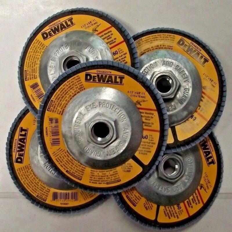 "DEWALT DWA8207H 4-1/2"" x 5/8""-11 Hub 60 Grit Zirconia Flap Disc 5 Pack"