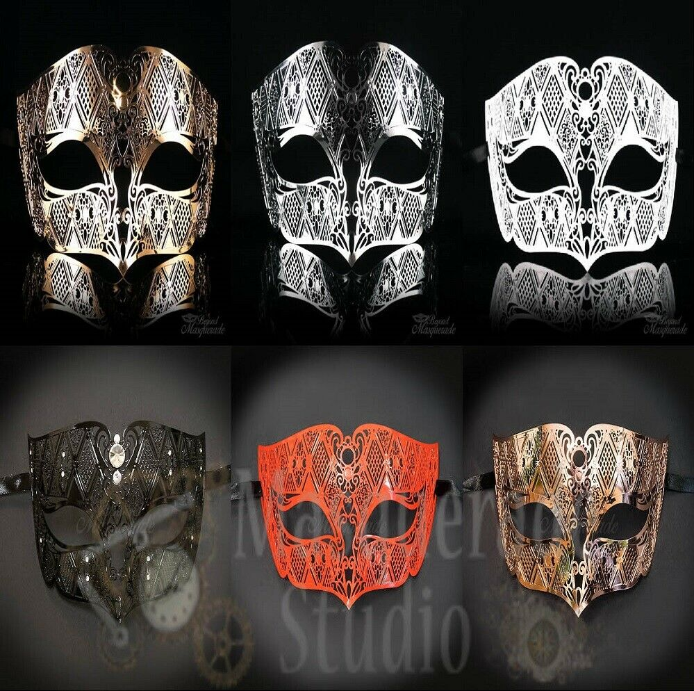 Mens Masquerade Ball Mask Simplistic Filigree Light Metal Ma