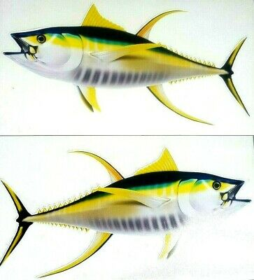 Yellowfin Tuna Decals Fish Stickers Set of 2 Vinyl Stickers #116 - Fish Stickers