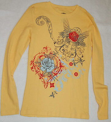 - YELLOW Rose HEARTS Wings Long Sleeve Jr Womens Small 3-5 Thermal Tee Shirt