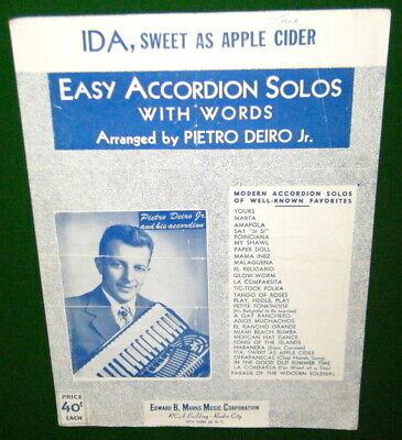 Easy ACCORDION SOLO Sheet Music by PIETRO DEIRO Jr., IDA, SWEET AS APPLE CIDER  for sale  Canada